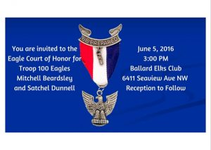 You are invited to the Eagle Court of Honor for Troop 100 EaglesMitchell Beardsleyand Satchel Dunnell